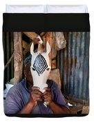 Kenya. December 10th. A Man Carving Figures In Wood. Duvet Cover