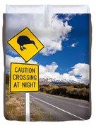 Kiwi Crossing Road Sign And Volcano Ruapehu Nz Duvet Cover