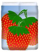 3 Little Berries Are We Duvet Cover by Andee Design