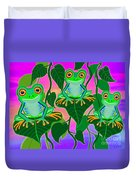 3 Little Frogs On Leafs Duvet Cover