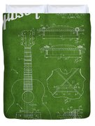 Mccarty Gibson Stringed Instrument Patent Drawing From 1969 - Green Duvet Cover