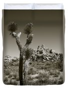 Joshua Tree National Park Landscape No 3 In Sepia Duvet Cover