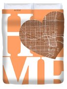 Miami Street Map Home Heart - Miami Florida Road Map In A Heart Duvet Cover