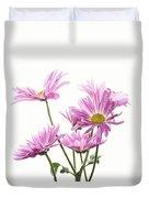 Mums Flowers Against White Background Duvet Cover