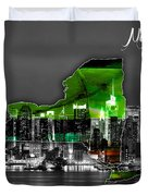New York Map And Skyline Watercolor Duvet Cover