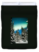 Northern Lights Aurora Borealis And Winter Forest Duvet Cover