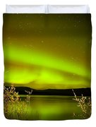 Northern Lights Mirrored On Lake Duvet Cover