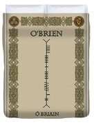 O'brien Written In Ogham Duvet Cover