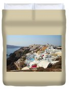 Oia Village Santorini Greece Duvet Cover