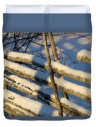 Old Swedish Wooden Fence In Winter Duvet Cover