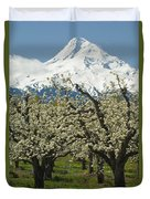 Orchard And Mount Hood, Oregon Duvet Cover