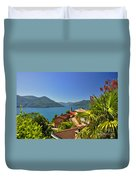 Panoramic View Over An Alpine Lake Duvet Cover