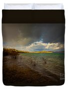 Rainbow And Dark Clouds Over Large Lake Duvet Cover