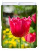 Red Tulips On The Green Background Duvet Cover