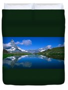 Reflection Of Mountains In Water Duvet Cover