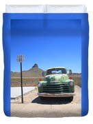 Route 66 - Old Green Chevy Duvet Cover