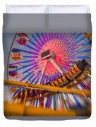 Santa Monica Pier Ferris Wheel And Roller Coaster At Dusk Duvet Cover