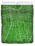 Santiago Street Map - Santiago Chile Road Map Art On Colored Bac Duvet Cover
