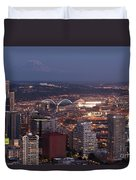 Seattle Skyline With Mount Rainier And Downtown City Lights Duvet Cover