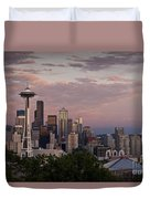 Seattle Skyline With Space Needle And Stormy Weather With Mount  Duvet Cover