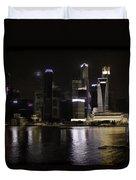 Singapore Skyline As Seen From The Pedestrian Bridge Duvet Cover
