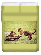 Small Lion Cubs Playing. Tanzania Duvet Cover