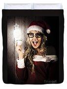 Smart Female Santa Claus With Christmas Idea Duvet Cover