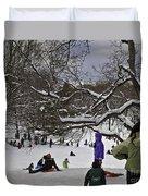 Snowboarding  In Central Park  2011 Duvet Cover