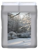 Snowy Trees Landscape Duvet Cover