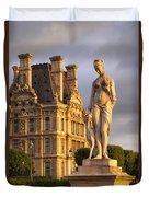 Statue Below Musee Du Louvre Duvet Cover