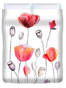 Stylized Poppy Flowers Illustration  Duvet Cover