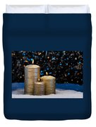 Three Gold Candles In Snow  Duvet Cover