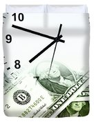 Time Is Money Concept Duvet Cover by Les Cunliffe