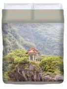 Traditional Pavillion Atop Cliff Duvet Cover