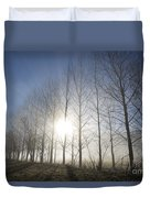Trees On A Foggy Field Duvet Cover
