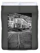 Typical Lisbon Tram In Commerce Square Duvet Cover