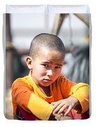 Uighur Child At Kashgar Market Xinjiang China Duvet Cover