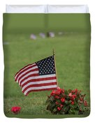 Us Flag On Memorial Day Duvet Cover by Robert D  Brozek