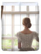 Victorian Woman At A Window Duvet Cover