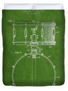 Snare Drum Patent Drawing From 1939 - Green Duvet Cover