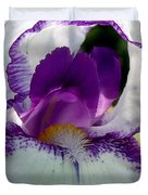 White And Purple Iris 2 Duvet Cover