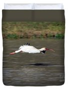 White Ibis In Flight Duvet Cover