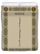 White Written In Ogham Duvet Cover