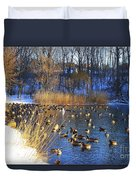 Winter By The Lake Duvet Cover