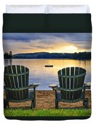 Wooden Chairs At Sunset On Beach Duvet Cover
