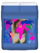 World Map And Aphrodite Duvet Cover