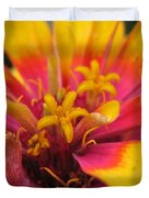 Zinnia Named Swizzle Scarlet And Yellow Duvet Cover