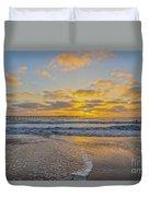 Ocean Beach Pier Sunset Duvet Cover