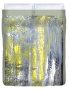 Placed - Grey And Yellow Abstract Art Painting Duvet Cover