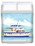 37 Foot Marine Trader 37 Trawler Yacht At Anchor Duvet Cover by Jack Pumphrey